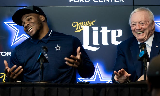 Dallas Cowboys first-round draft pick linebacker Micah Parsons, left, and Dallas Cowboys owner Jerry Jones speak to the media at the Dallas Cowboys headquarters, Friday in Frisco.