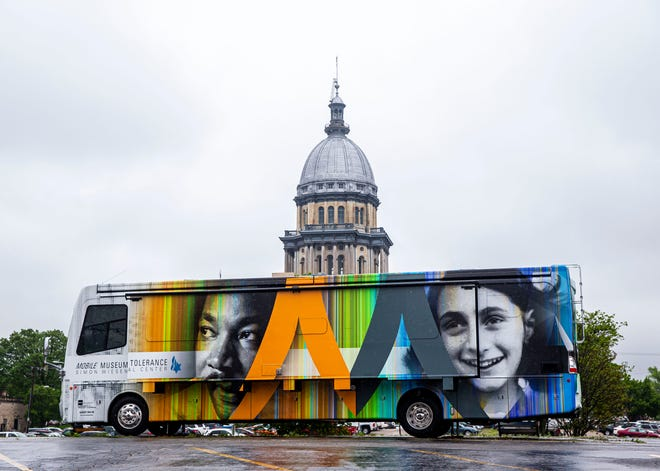 The Mobile Museum of Tolerance by the Simon Wiesenthal Center parked outside the Illinois State Capitol in Springfield on Tuesday. The museum is an initiative of the Simon Wiesenthal Center in Chicago and hopes to use presentations on the Civil Rights Movement and the Holocaust as way to encourages conversations by using history as way to help understand the world today. The museum is parked in the parking lot next to the Statehouse Inn north of the state Capitol and will be open to the public on Wednesday and Thursday. [Justin L. Fowler/The State Journal-Register]