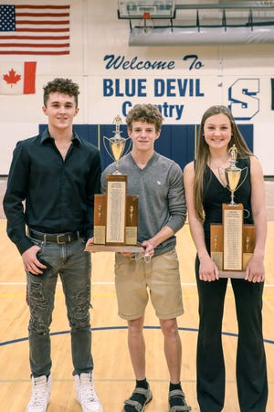 Sault High has announced its swimming and diving team award winners for 2021. Blue Devils' Most Valuable award winners are, from left to right: Morgan Burd and Conner Habusta (boys), and Aliah Robertson (girls).