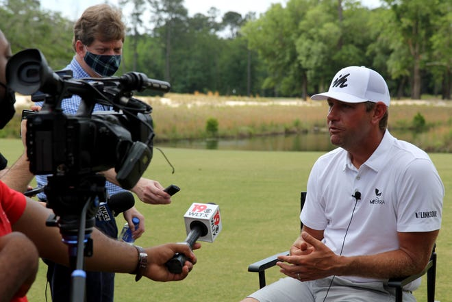 PGA Tour player Lucas Glover, a South Carolina native, is interviewed by media members during the Community and Media Day for the Palmetto Championship at Congaree on May 3.