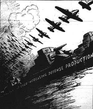 """With the world aflame in Europe and Asia by mid-1941, this political cartoon depicted the feelings that were dominating in America on Labor Day. The cartoon was entitled """"LABOR DAY PARADE — 1941."""" (The depiction appeared in the Shawnee News in September of 1941.)"""