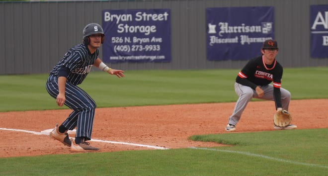 Shawnee's Krew Taylor (left) looks to try and score from third base against Coweta last Saturday.