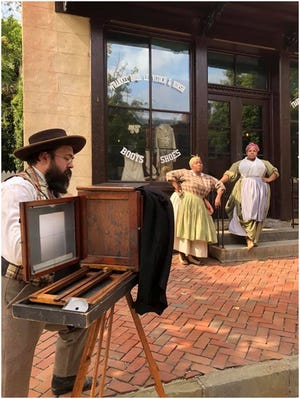 Traveling tintype artist Eric (Dave) Wilson, owner of Victorian Photography Studio in Gettysburg PA, will be demonstrating the Wetplate Collodion photo process in Bishop Hill May 15.