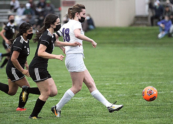 Torri Towles of Three Rivers scores one of her five goals against Sturgis on Monday evening.