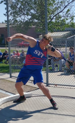 Santa Fe Trail junior Brett Schwartz broke the school record in the shot put and discus at last Friday's Bob Camien-Claudia Welch Invitational at Seaman. Schwartz's discus throw of 183 feet, 11 inches ranks No. 1 in the state this year.