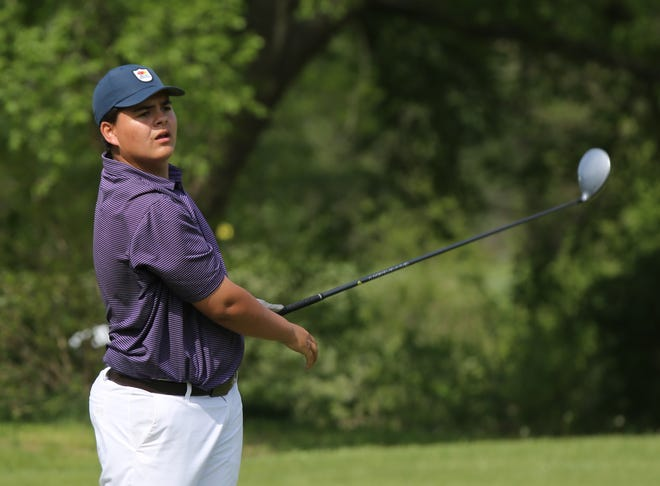 Topeka West freshman Myles Alonzo came up just short in his bid to capture Monday's Centennial League championship. Alonzo led for much of the day but saw Washburn Rural's Luke Leonetti rally late for a two-stroke win as Alonzo finished second with a 76.
