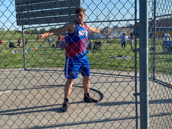 Santa Fe Trail's Brett Schwartz posted the top discus throw in the state this year at last Friday's Bob Camien-Claudia Welch Invitational at Seaman. His throw of 183 feet, 11 inches was one of two schools on the day with Schwartz also breaking the shot put record.