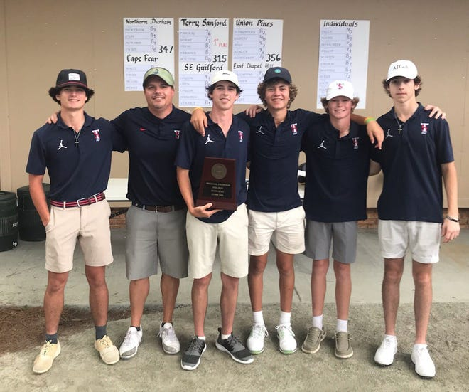 The Terry Sanford boys' golf team won the NCHSAA 3-A Mideast Regional title on Monday in Buies Creek.