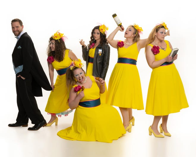 """The Minerva Area Chamber of Commerce's Roxy Theatre, 203 N. Market St., will present """"Five Women Wearing the Same Dress"""" at 6:15 p.m. May 14-15. Pictured, from left: Allen Harshbarger, Loni Porter, Megan Eckstein, Delaney Tennant, Jessica Stills and Heather Elkins."""