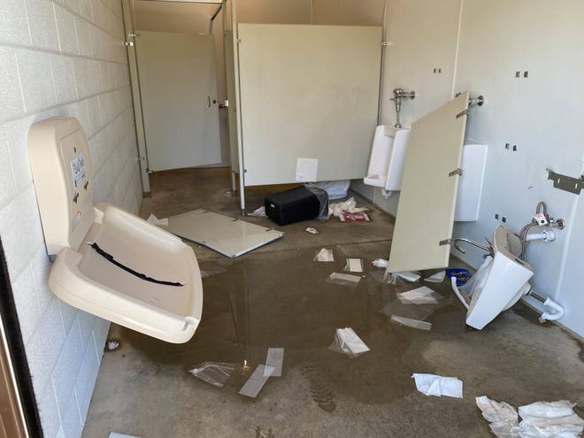 Some time between April 24 and 25, the restrooms at Victory Park were vandalized. This photo, posted to the city of Pickerington's Facebook page, shows damage to the men's room.