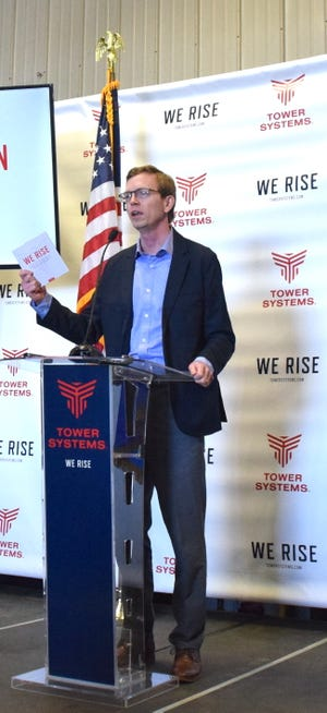 """U.S Rep. Dusty Johnson thanked Tower Systems for their ability to """"rise"""" as innovative leaders and industry pioneers."""