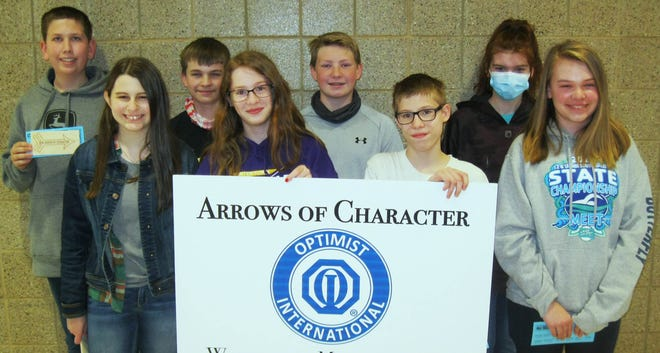 Arrows of Character from the Watertown Middle School Seventh Grade are (from left) Kaden Raml, Kyan Vavruska, Arte Larson, Ashley Wittrock, Kooper Heiser, Brandon Wittrock, Natalie Bau-Waege and Grace McCormick. Not pictured is Tyson Manley.