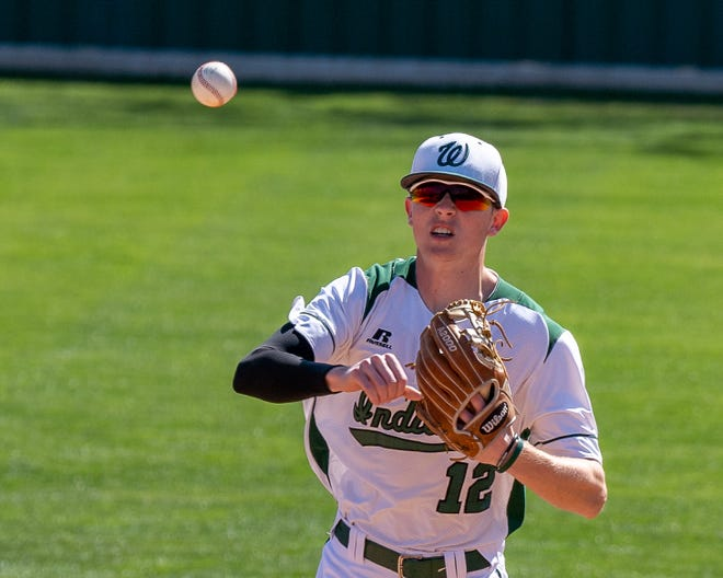 Waxahachie's Landon Davis throws the ball during a game earlier this season. The Indians closed out district play with a 6-4 win over Waco Midway on Monday night, and will face Killeen Harker Heights in a best-of-three bi-district playoff series on Friday and Saturday.