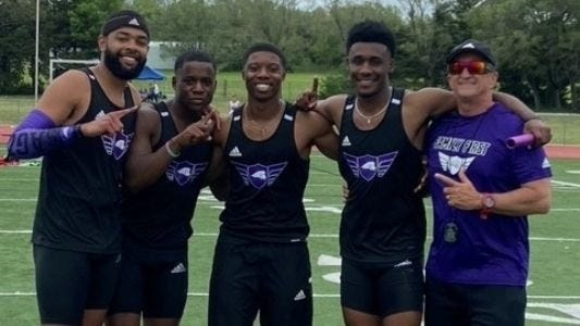 SAGU's men's 4x100 men celebrate after a good race in the Southwestern Relays on Saturday.
