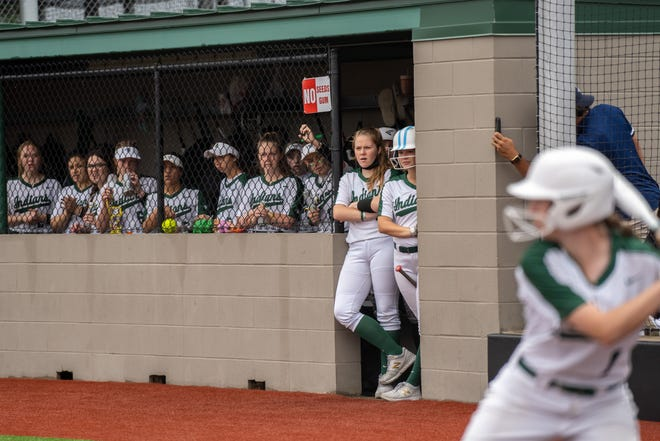 Waxahachie softball players watch the game from the dugout during Friday evening's Class 6A Region bi-district playoff Game 2 against Bryan at Midkiff Athletic Complex. The Lady Vikings won, 13-0 in five innings, ending the Lady Indians' season.