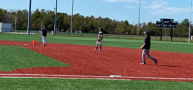 Plymouth South baseball works on some infield drills during a recent practice.