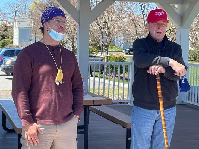 Wampanoag/Nipmuc Marcus Hendricks, left, and HSOY President Bob Kelley welcome tourgoers at Packet Landing last weekend.