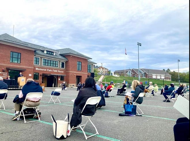 Town Meeting members bundled up for the annual Town Meeting at Memorial Field on May 3, 2021.