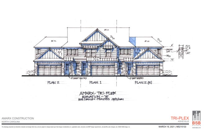 A rendering of one of the triplex designs proposed by Amarx Construction off Beaverdam Road, included with plans submitted to the city.