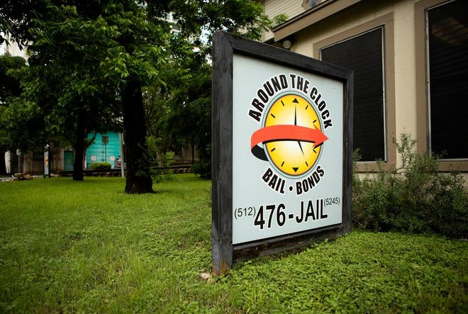 Around the Clock Bail Bonds on 10th St. and Nueces in Austin in 2019. Texas lawmakers are working on bills that could alter the way criminal defendants can be released from jail before trial.