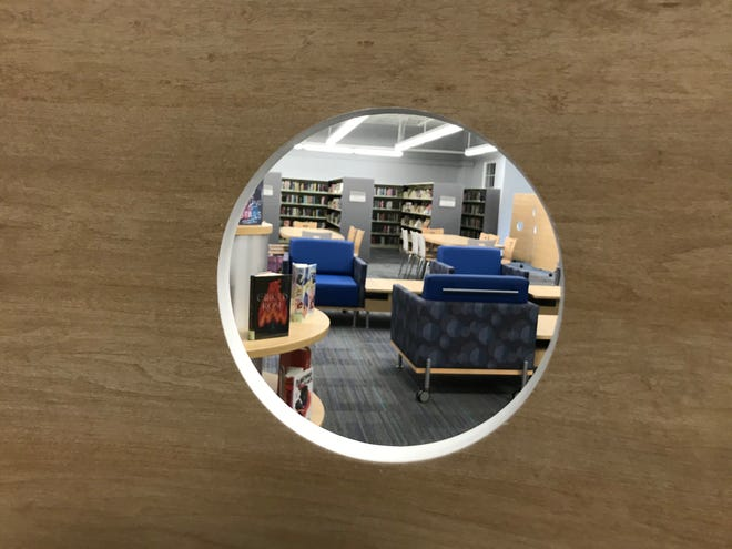 A partition separates the newly expanded and renovated teens section at the Camden County Library.