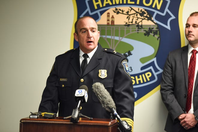 Hamilton Township Police Chief Scott Hughes addresses media in a press conference regarding a fatal officer-involved shooting on Sunday in Warren County.
