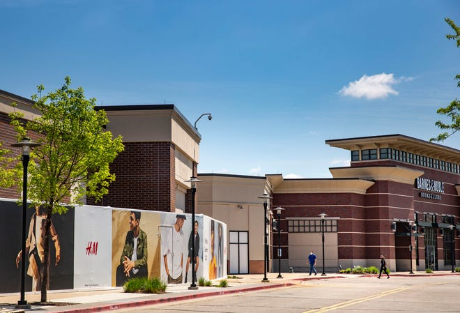 H&M branding on the outside of Jordan Creek Town Center Tuesday, May 4, 2021.
