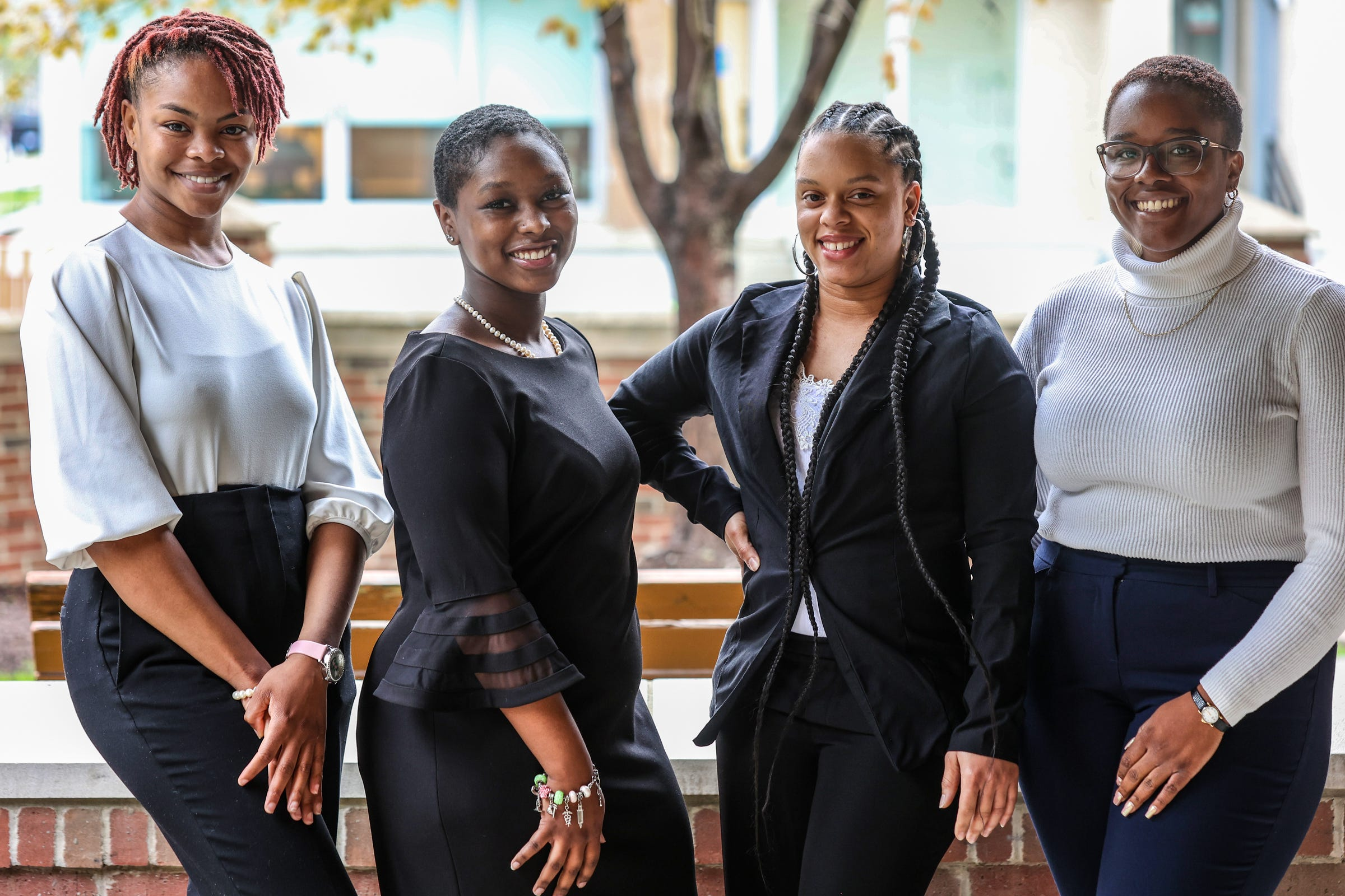 Wayne State University Students Arnell Kinney, 21, of Detroit; Nia Anderson, 23, of Detroit; Dominique Jenkins, 28, of Detroit and Sydni Alexis Elebra, 20, of Detroit are recipients of the Jessie P. Slaton Scholarship awarded by the Elliottorian Business and Professional Woman's Club and are photographed at the Village of Brush Park Manor Paradise Valley in Detroit on April 29, 2021. The the Elliottorian Business and Professional Women's Club is the first club of Black business women in Detroit and Michigan and was founded in 1928.