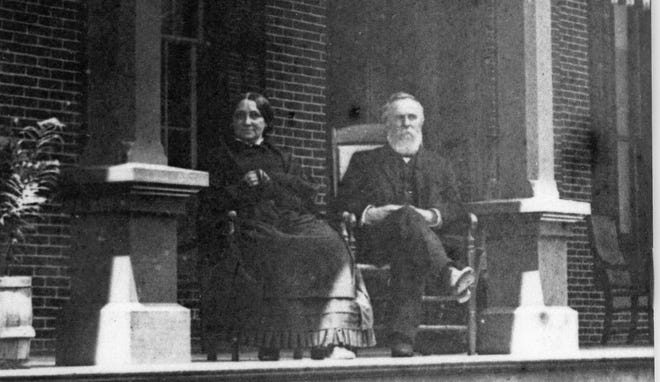 Rutherford and Lucy Hayes enjoy their Verandah in the 1880s.