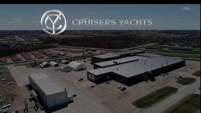 An aerial image of the newly acquired Pulaski plant with Cruisers Yachts logo on it. Cruisers acquired what was formerly Carver and Marquis Yachts' plant on April 26.