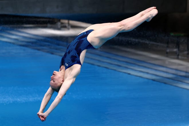 Sarah Bacon of the US competes in the women's 3m springboard final at the FINA Diving World Cup and test event for the Tokyo 2020 Olympic Games, at the Tokyo Aquatics Centre on May 4, 2021.