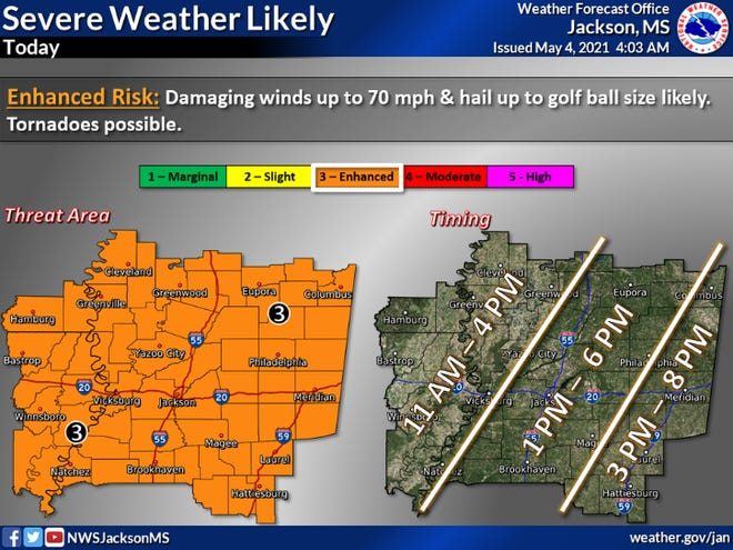 Severe thunderstorms are likely from late Tuesday morning into early evening. Damaging winds up to 70 mph and large hail are likely. Tornadoes are possible.