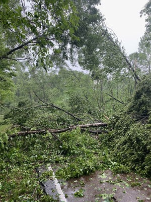 Multiple trees were toppled by high winds and blocked Bruenburg Parkway in Clinton after a line of strong thunderstorms moved through the area on Tuesday, May 4, 2021.