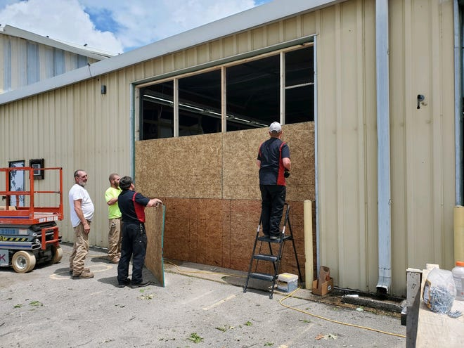 Repair work begins on the bus garage for the Weakley County Schools System.
