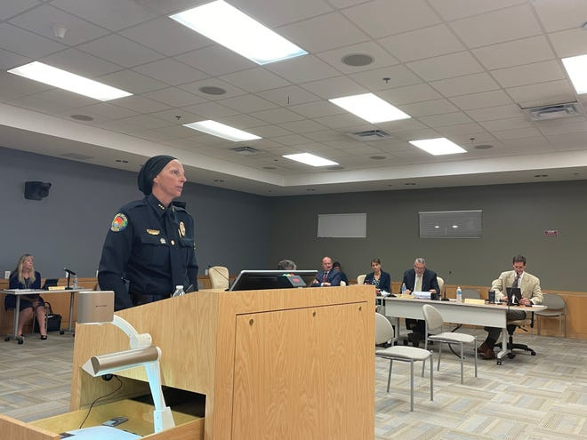 Marco Island Police Chief Tracy L. Frazzano speaks with City Council on May 3, 2021.