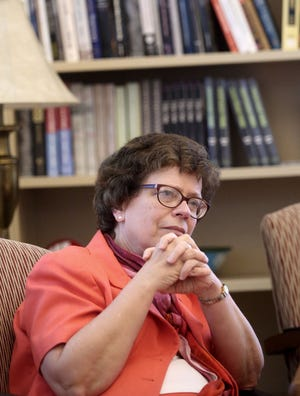 University of Wisconsin Chancellor Rebecca Blank in her office in Bascom Hall on the campus in Madison.
