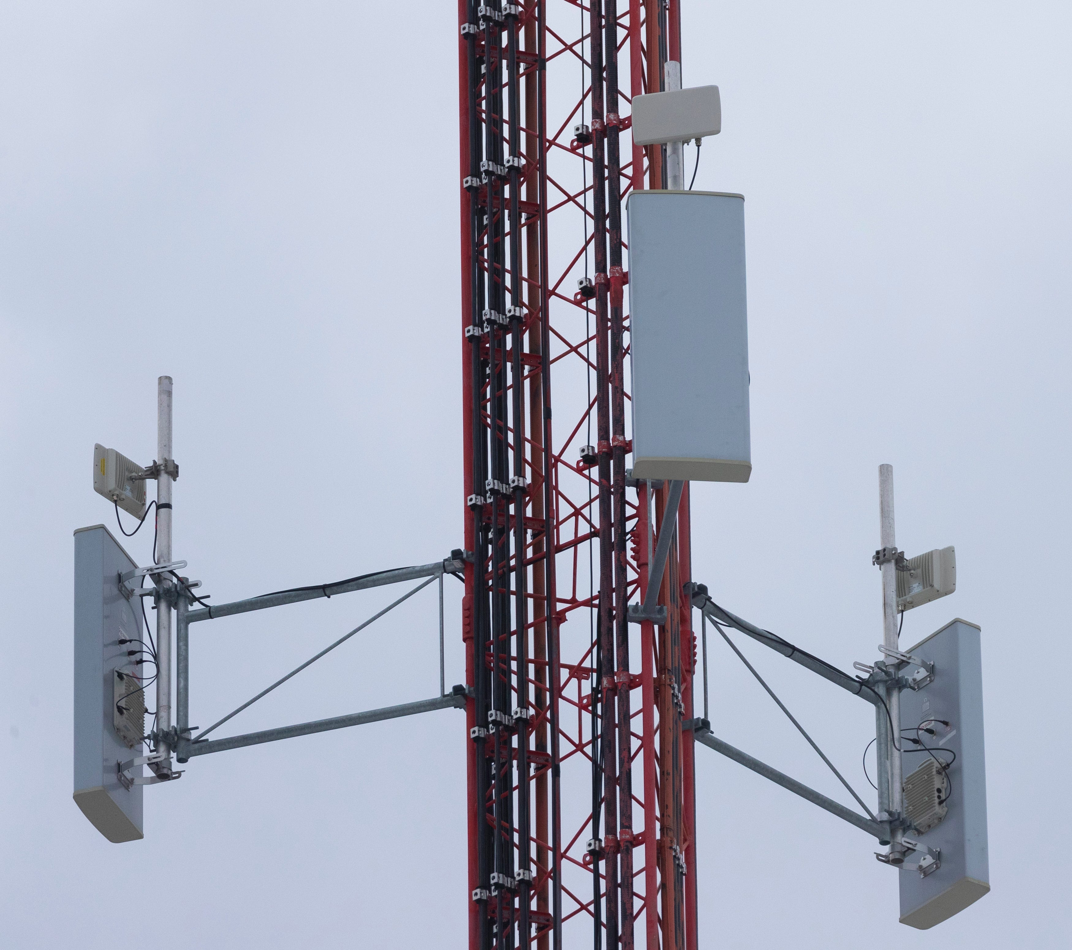 Transmission equipment on a communications tower used by Astrea is shown in Wausaukee.