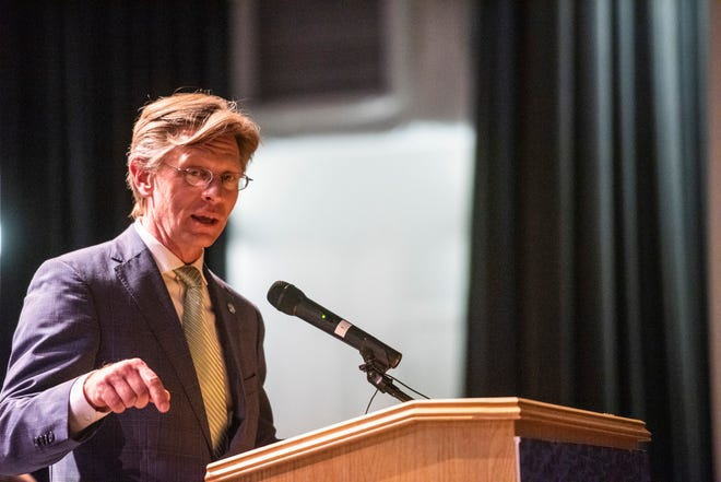 Alabama State Superintendent Eric Mackey speaks at Carver High School in Montgomery, Ala., on Tuesday, May 4, 2021.