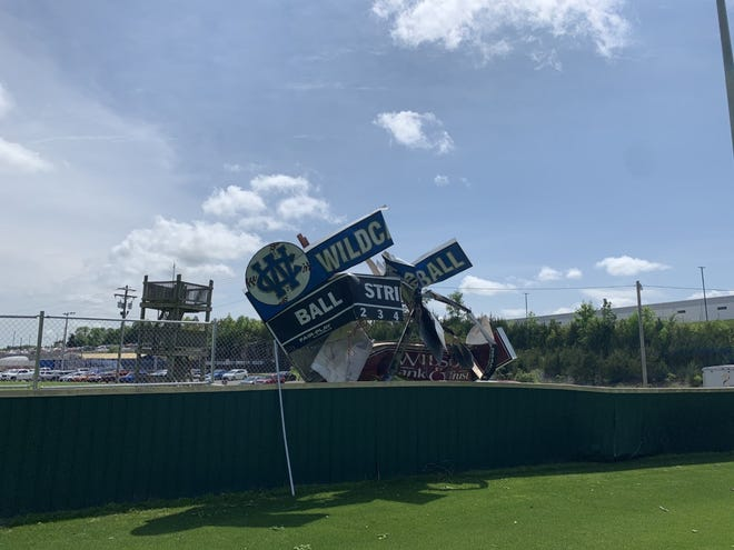 Damage done to the scoreboard at Wilson Central's baseball field from a Tuesday morning storm.