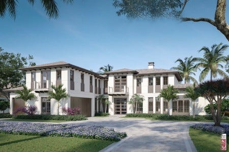 Artists' rendering of Diamond Custom Homes' Mayfair residence on Yucca Road in Coquina Sands.