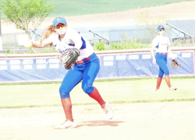 Lakewood senior Keelie Davis makes a throw from shortstop during Monday's game against Northridge. The Lancers are a No. 4 seed in the postseason tournament.