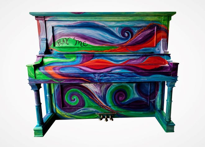 """""""Uncommon Melody"""" is the theme of this piano painted by Karen Ellsbury that will be unveiled during the kickoff event this weekend in Aztec for the Big Sound in a Small Town public art project."""