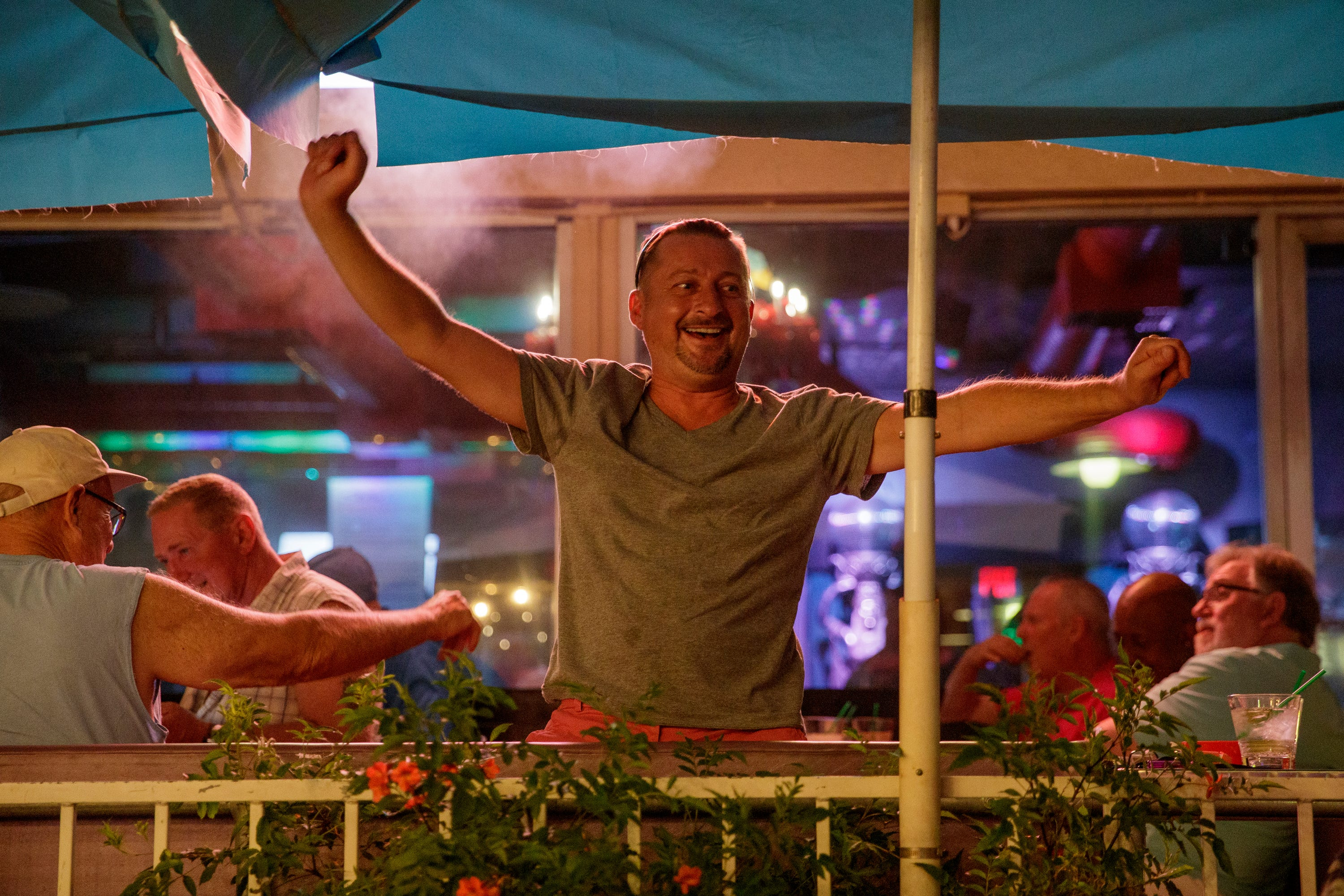 George Parizk hangs out at Streetbar in Palm Springs, Calif., on Friday, April 30, 2021.