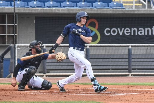 Blue Wahoos outfielder JJ Bleday, one of the top-ranked prospects in all Minor League Baseball, works out at Blue Wahoos Stadium on May 2 during the team's only preseason practice at their home field before starting the season.