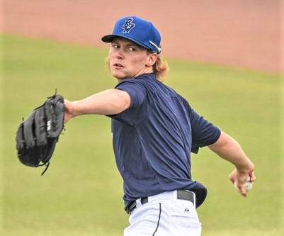 Max Meyer, drafted as No. 3 overall by Miami Marlins in 2020, works out at Blue Wahoos Stadium on Sunday as team prepared for season-opener Tuesday at Mississippi Braves.