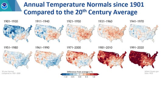 This series of climate maps released by the federal government shows changes in average annual temperatures for 30-year periods between 1901 and 2020. Human-caused climate change has been pushing average temperatures higher across the country, and in the past decade the most pronounced warming has occurred in the Southwest.