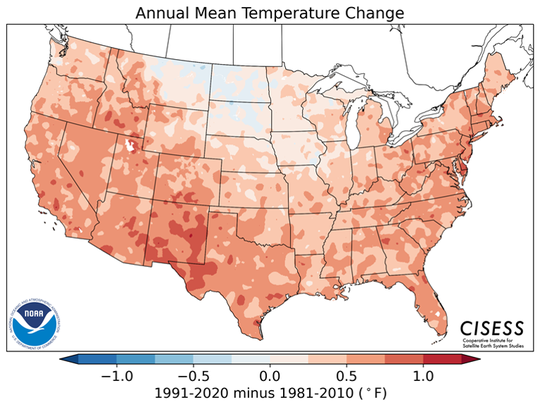 This map produced by the federal government shows changes in average annual temperatures during the period 1991-2020 as compared to 1981-2010.