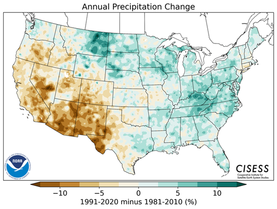 This map produced by the federal government shows changes in annual precipitation from 1991-2020 as compared to 1981-2010