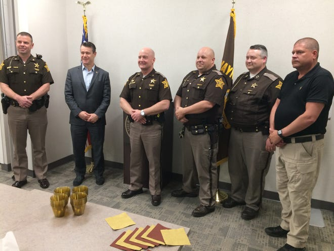 Sen. Todd Young visited Tuesday the command staff of the Wayne County Sheriff's Office: Major Rick Thalls (from left), Young, Sheriff Randy Retter, Lt. Kevin Hay, Capt. Andy Abney-Brotz and Lt. Jack Martin.