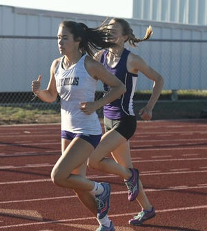 San Saba High School's Brighton Adams competes in the 800 meters during the 2021 season.